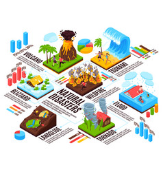 Natural disaster isometric infographics vector