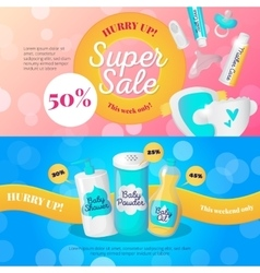 Newborn accessories banners design vector