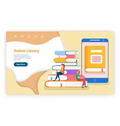 online library site template books people with vector image