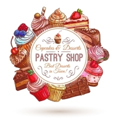 Pastry shop patisserie emblem vector