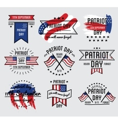 Patriot day set September 11 vector image