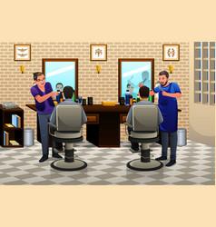 People having haircut vector