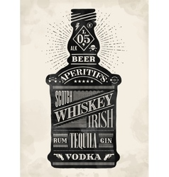 Poster bottle alcohol with hand drawn lettering vector
