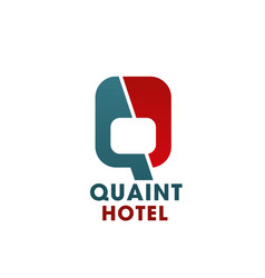 Q letter wing icon for hotel vector