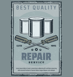 repair and construction work tools retro poster vector image