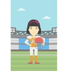 Rugplayer with ball and helmet in hands vector