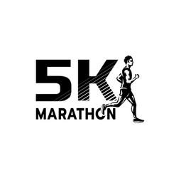 Running marathon 5 thousand participants logo vector