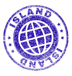 Scratched textured island stamp seal vector
