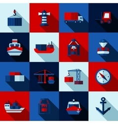 Seaport Color Flat Shadows Icons Set vector