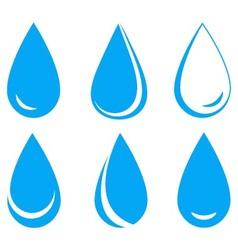Set blue water drops vector