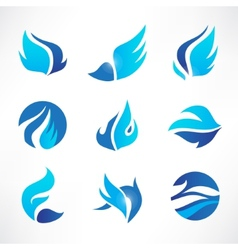 Set of abstract blue wings flow water icons vector
