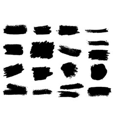 set of grunge brush strokes design element vector image