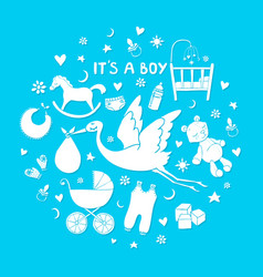 Set of hand drawn elements baby boy stuff vector