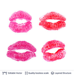 set of pink lips prints isolated on white vector image