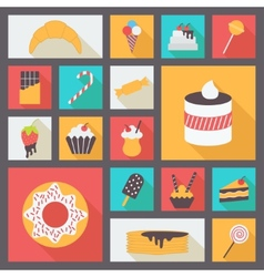 Set of various sweets for restaurant and menu Flat vector