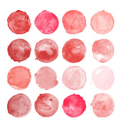Set of watercolor red pink shapes vector
