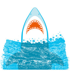 Shark jaws blue background vector