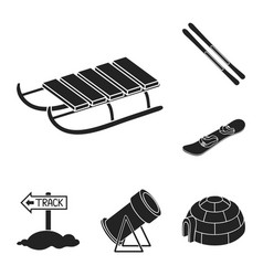 ski resort and equipment black icons in set vector image