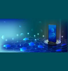 smartphone antenna in digital waves smartphone vector image