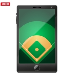 Smartphone with a baseball field on the screen vector image