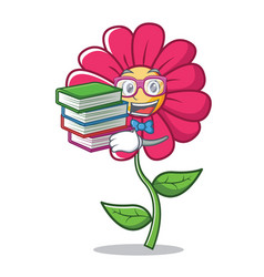 Student with book pink flower character cartoon vector