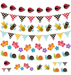 Summer garden garland set vector image