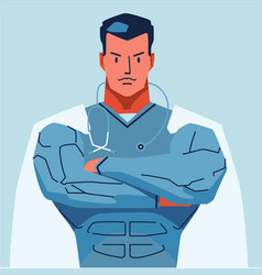 Superman physician in white coat with stethoscope vector