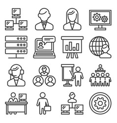 system administrator and operator icons set line vector image