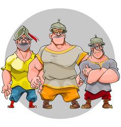 three cartoon funny men in knightly helmets vector image