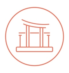 Torii gate line icon vector image