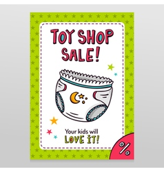 Toy shop sale flyer design with baby diaper vector image