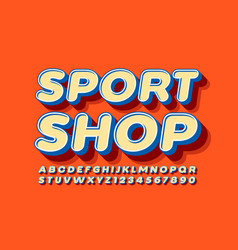 trendy logo sport shop with 3d retro font vector image