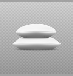 two white soft pillow stack from sideways view vector image