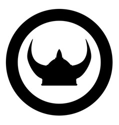 viking helmet icon black color in circle round vector image