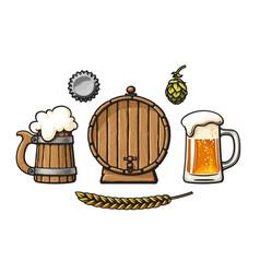 vintage set beer objects barrel glass mug of vector image