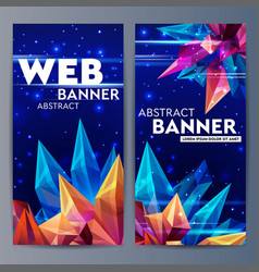 Web banners with faceted crystals glass asteroid vector