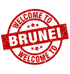 Welcome to brunei red stamp vector