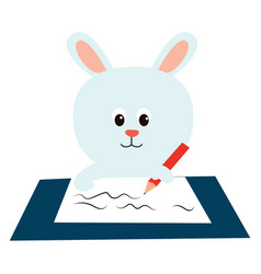 white bunny on white background vector image