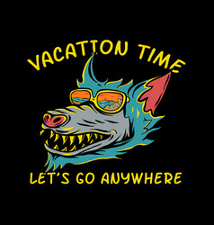 wolf wearing glasses for vacation vector image