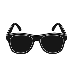 Yellow trendy sunglasses icon in black style vector