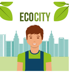 young man eco city urban energy alternative vector image