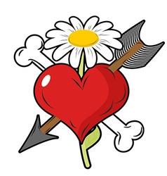 Red heart piercing arrow symbol of love Bone is vector image vector image