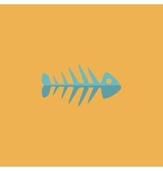 Fish skeleton flat icon vector image