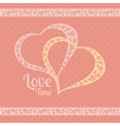 greeting card with polka dots and hearts vector image
