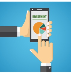 Hand holding smart phone with analyzing graph vector image vector image