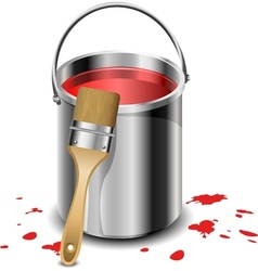 Paint bucket with paint brush vector image