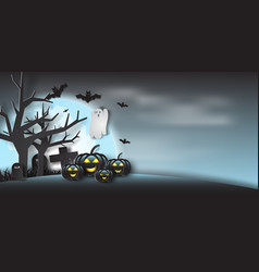 paper art of halloween party with ghost fullmoon vector image