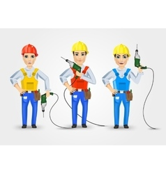 set of three technical electrician or mechanic vector image vector image