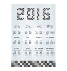 2016 simple business wall calendar grayscale vector image vector image