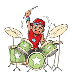 Anime Manga Drummer vector image vector image